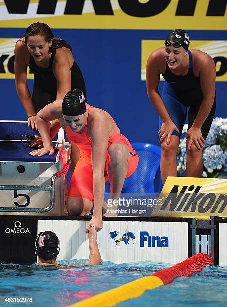 Missy Franklin Katie McLaughlin and Leah Smith and Katie Ledecky of the United States celebrate winning the gold medal in the Women's 4x200m...