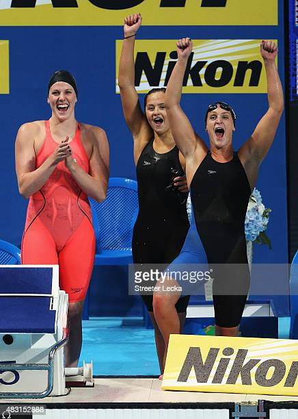 Missy Franklin Katie McLaughlin and Leah Smith cheer on Katie Ledecky of the United States as she competes in the Women's 4x200m Freestyle Relay...