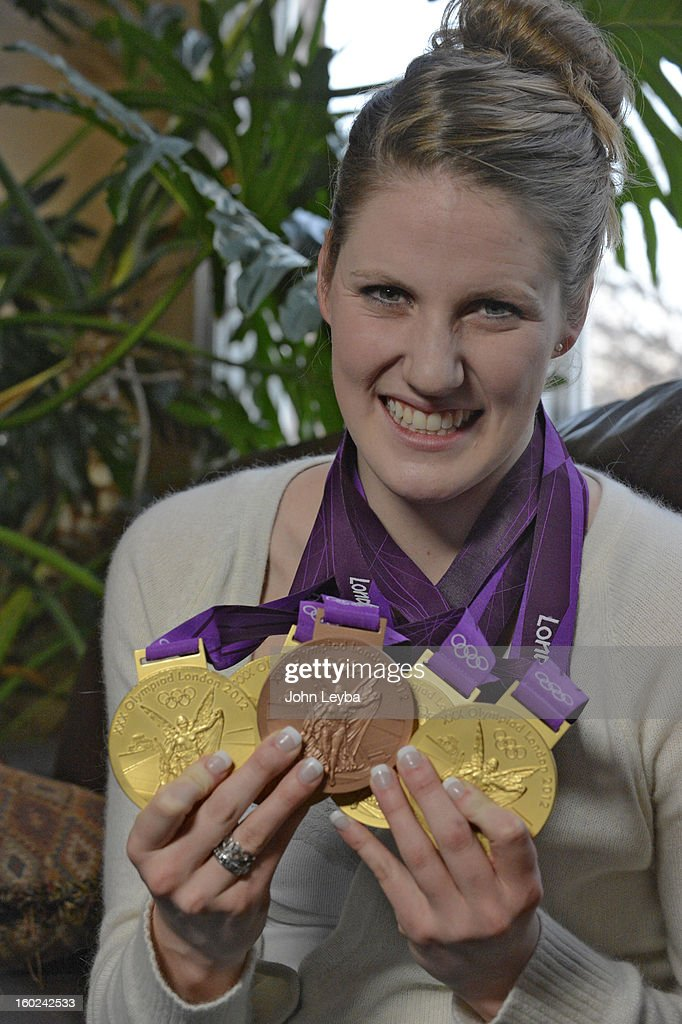 Missy Franklin Missy sits down to an interview, holds up her Olympic medals January 24, 2013, six months after winning four gold medals at the summer Olympics. Franklin signed a national letter of intent to swim for the Golden Bears starting next September.