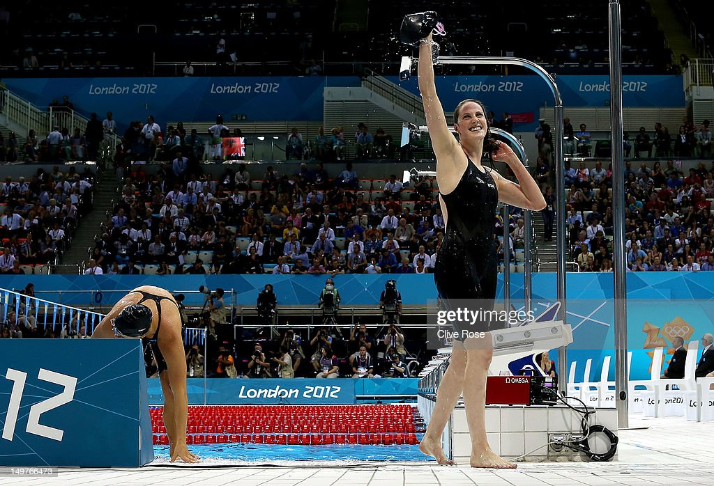 <a gi-track='captionPersonalityLinkClicked' href=/galleries/search?phrase=Missy+Franklin&family=editorial&specificpeople=6623958 ng-click='$event.stopPropagation()'>Missy Franklin</a> of the United States celebrates winning the Women's 200m Backstroke Final as she exits the pool on Day 7 of the London 2012 Olympic Games at the Aquatics Centre on August 3, 2012 in London, England.