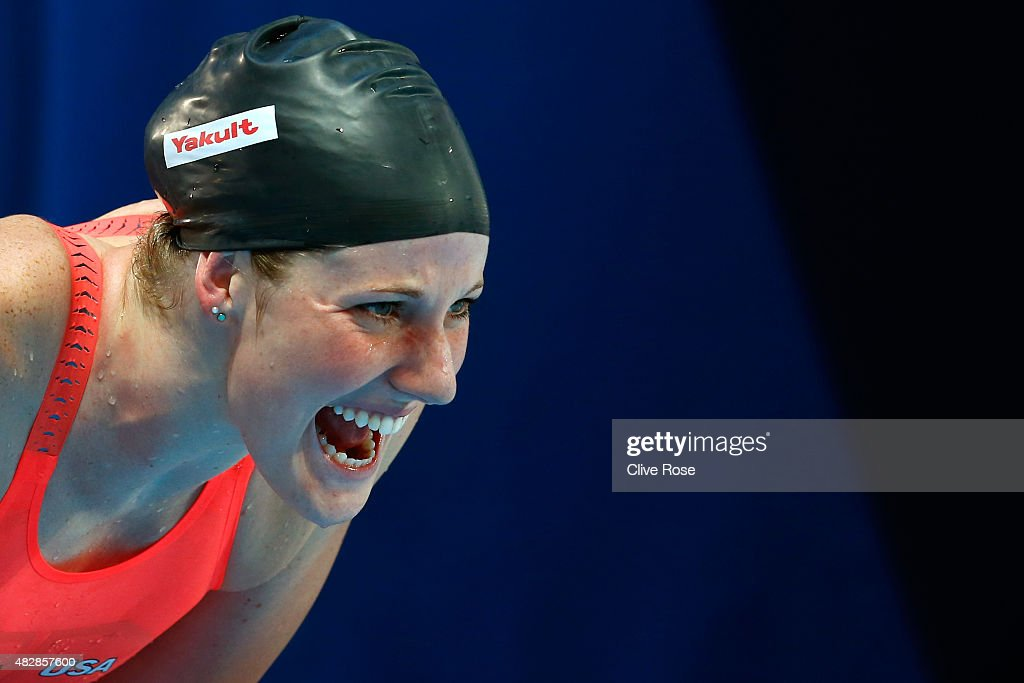 Missy Franklin of the United States cheers on <a gi-track='captionPersonalityLinkClicked' href=/galleries/search?phrase=Kathleen+Baker+-+Swimmer&family=editorial&specificpeople=16070529 ng-click='$event.stopPropagation()'>Kathleen Baker</a> (not pictured) of the United States as she competes in the Women's 100m Backstroke Semifinal on day ten of the 16th FINA World Championships at the Kazan Arena on August 3, 2015 in Kazan, Russia.