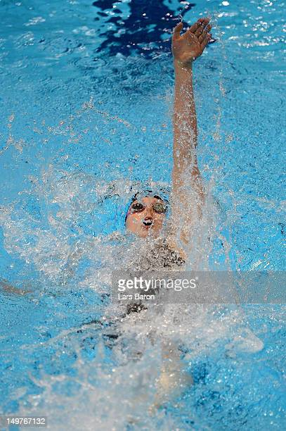 Missy Franklin of the United States competes in the Women's 200m Backstroke Final on Day 7 of the London 2012 Olympic Games at the Aquatics Centre on...