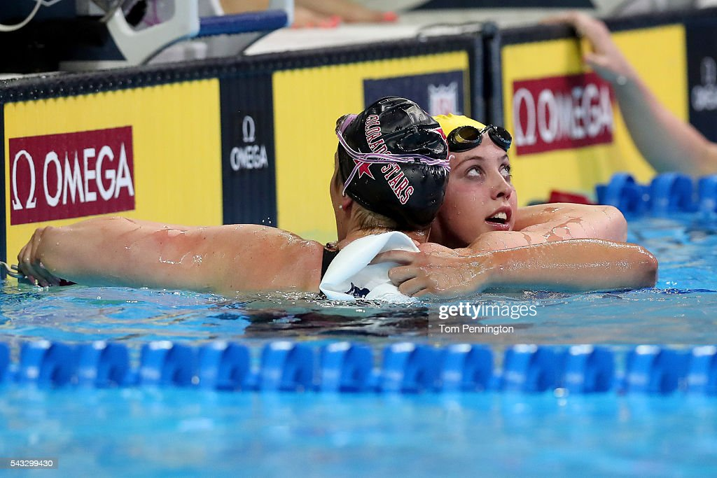 <a gi-track='captionPersonalityLinkClicked' href=/galleries/search?phrase=Missy+Franklin+-+Swimmer&family=editorial&specificpeople=6623958 ng-click='$event.stopPropagation()'>Missy Franklin</a> of the United States reacts with <a gi-track='captionPersonalityLinkClicked' href=/galleries/search?phrase=Kathleen+Baker+-+Swimmer&family=editorial&specificpeople=16070529 ng-click='$event.stopPropagation()'>Kathleen Baker</a> of the United States after competing in a preliminary heat for the Women's 100 Meter Backstroke during Day 2 of the 2016 U.S. Olympic Team Swimming Trials at CenturyLink Center on June 27, 2016 in Omaha, Nebraska.