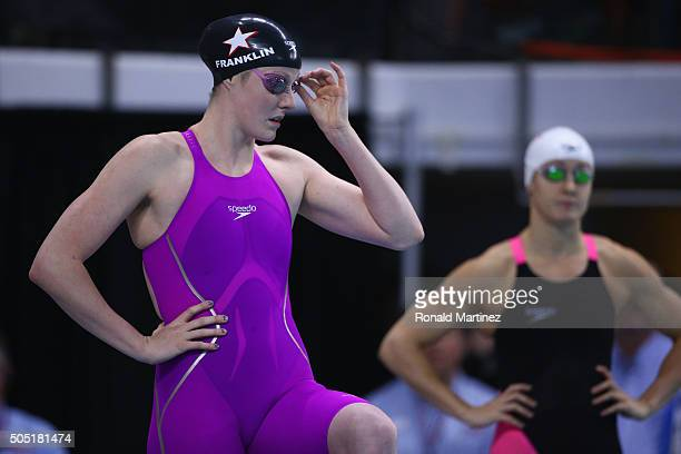 Missy Franklin prepares to comete in the Women's 100 meter freestyle during the Arena Pro Swim Series at Austin on January 15 2016 in Austin Texas