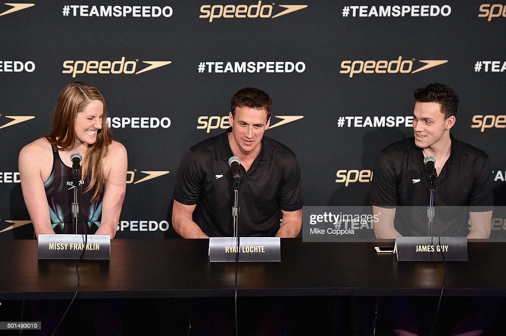 Missy Franklin Ryan Lochte and James Guy speak during the New York launch of Team Speedo and Speedo's Fastskin LZR Racer X on December 15 2015 in New...