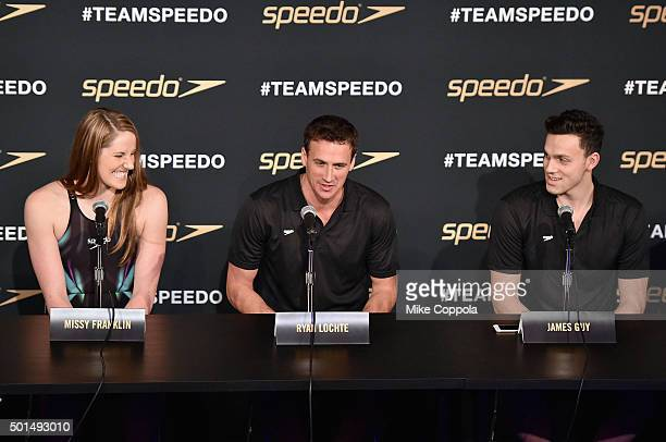 Missy Franklin Ryan Lochte and James Guy speak during the New York launch of Team Speedo and Speedo's Fastskin LZR Racer X on December 15 2015 in New...
