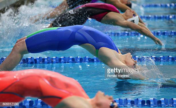 Missy Franklin swims in the Women's 200 meter backstroke during the Arena Pro Swim Series at Austin on January 16 2016 in Austin Texas