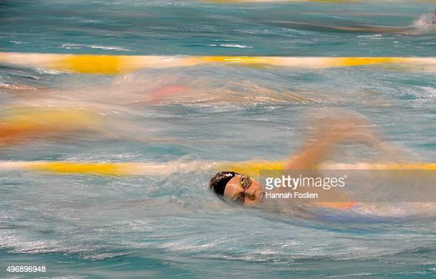 Missy Franklin warms up before racing at the Arena Pro Swim Series on November 12 2015 at Jean K Freeman Aquatics Center in Minneapolis Minnesota