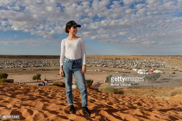 Missy Higgins is pictured at the Big Red sand dune before the Birdsville Big Red Bash 2017 on July 4 2017 in Birdsville Australia