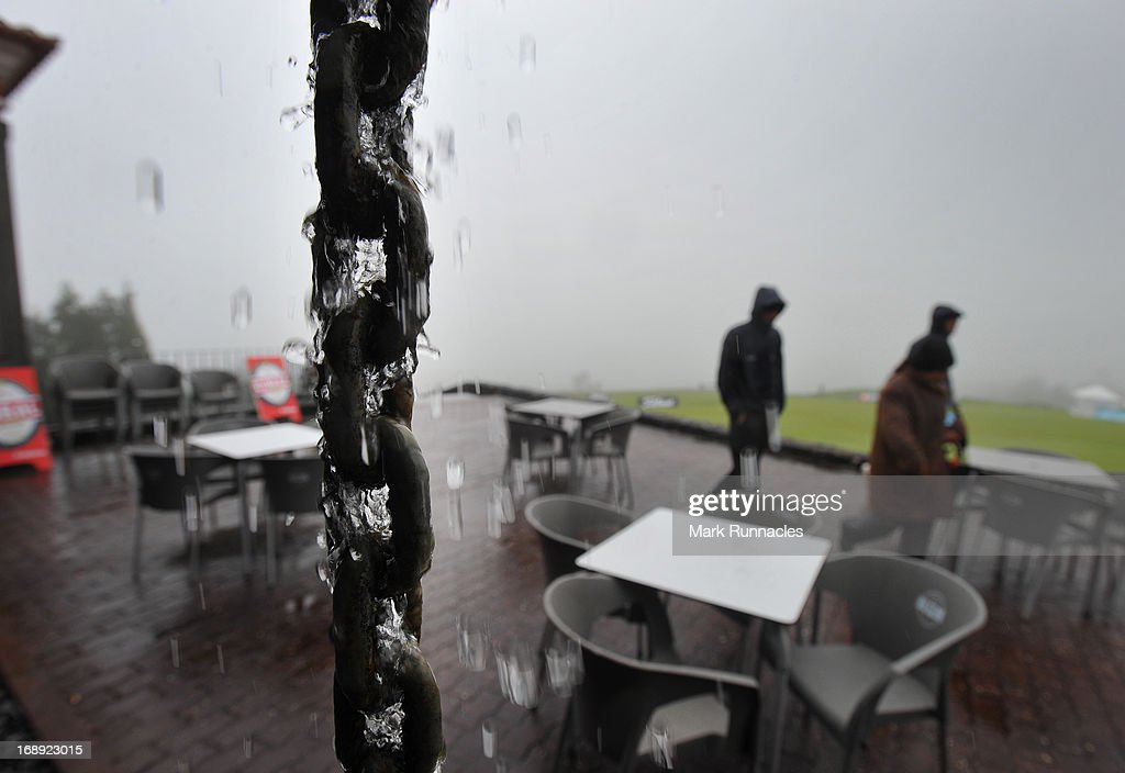 Mist and rain stops play shortly after it starts during Day Two of the Madeira Islands Open - Portugal - BPI at Club de Golf do Santo da Serra on May 17, 2013 in Funchal, Madeira, Portugal.