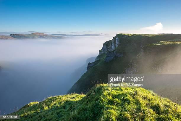 Mist filled valley on an autumn morning
