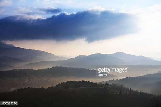 Mist over mountain range