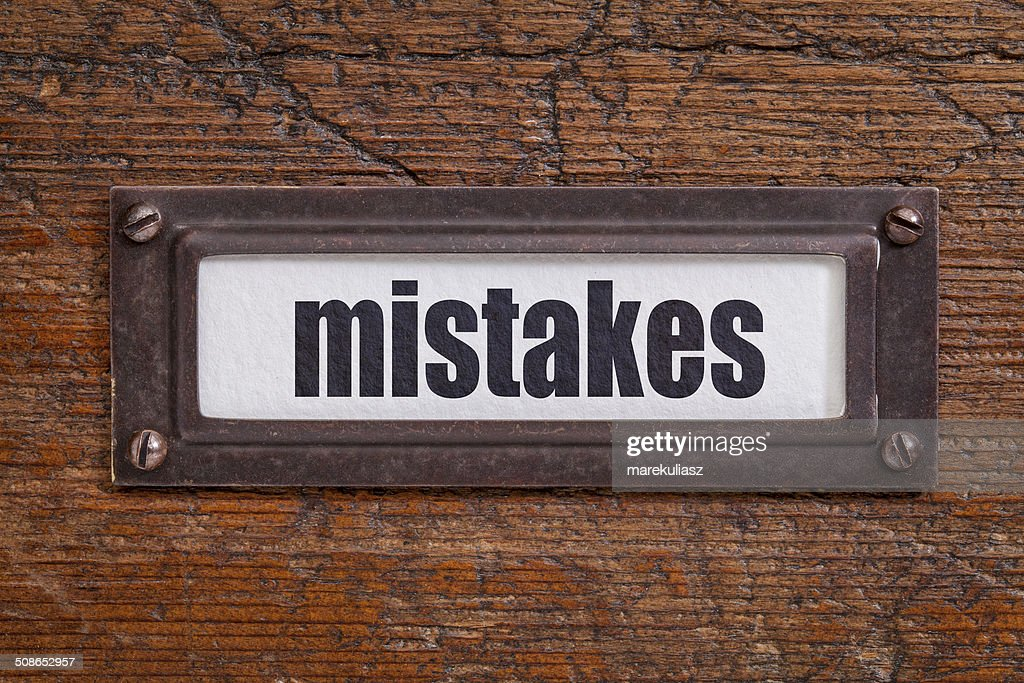 mistakes - file cabinet label : Stock Photo