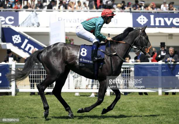 Mister Blue Sky ridden by Jockey Ryan Powell prior to the Investec Private Banking Handicap
