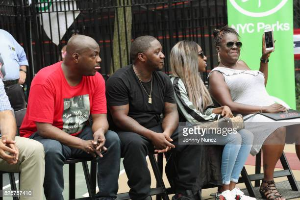 DJ Mister Cee Lil Cease T'yanna Dream Wallace and Jan Jackson attend the ribbon cutting ceremony at Crispus Attucks Playground on August 2 2017 in...
