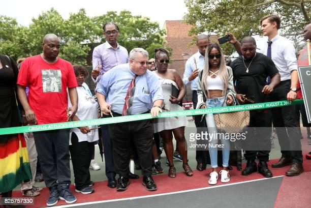 DJ Mister Cee NYC Council Member Robert E Cornegy Jr NYC Parks Brooklyn Borough Commissioner Martin Maher Jan Jackson New York State Assemblyman...