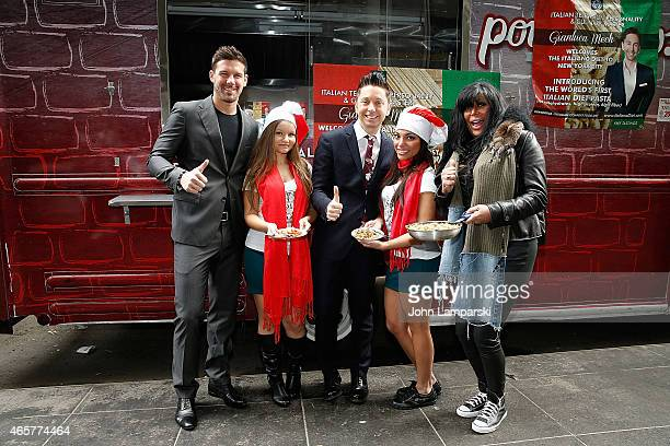 Mister Europe 20913 Marco Boscolo Gianluca Mech and Big Ang Raiola attends Italiano Diet Launch Event at Times Square on March 10 2015 in New York...
