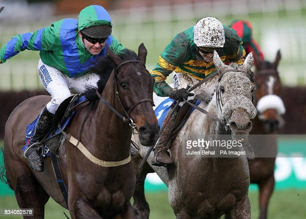 Mister Top Notch and jockey Conor O'Dwyer winning The Pierse Hurdle at Leopardstown Racecourse