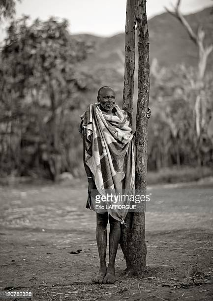 Mister Winjala Suri tribe in Turgit village Omo valley Ethiopia on July 05 2010 Surma or Suri are sedentary pastoral people living in south west of...