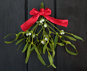 Christmas mistletoe with red ribbon bow over dark wood background.