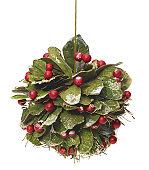 Mistletoe hanging isolated on white