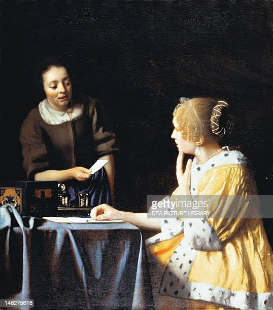 Mistress and Maid by Jan Vermeer oil on canvas 90x79 cm New York The Frick Collection