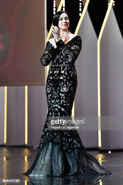 Mistress of Ceremonies Monica Bellucci during the Closing Ceremony of the 70th annual Cannes Film Festival at Palais des Festivals on May 28 2017 in...