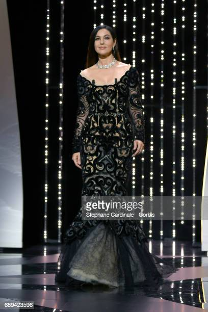 Mistress of Ceremonies Monica Bellucci is seen on the stage at the Closing Ceremony during the 70th annual Cannes Film Festival at Palais des...