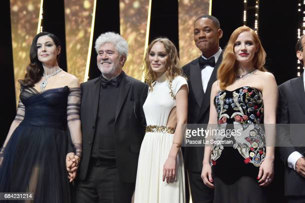 Mistress of Ceremonies Monica Bellucci President of the jury Pedro Almodovar model LilyRose Depp jury members Will Smith and Jessica Chastain during...