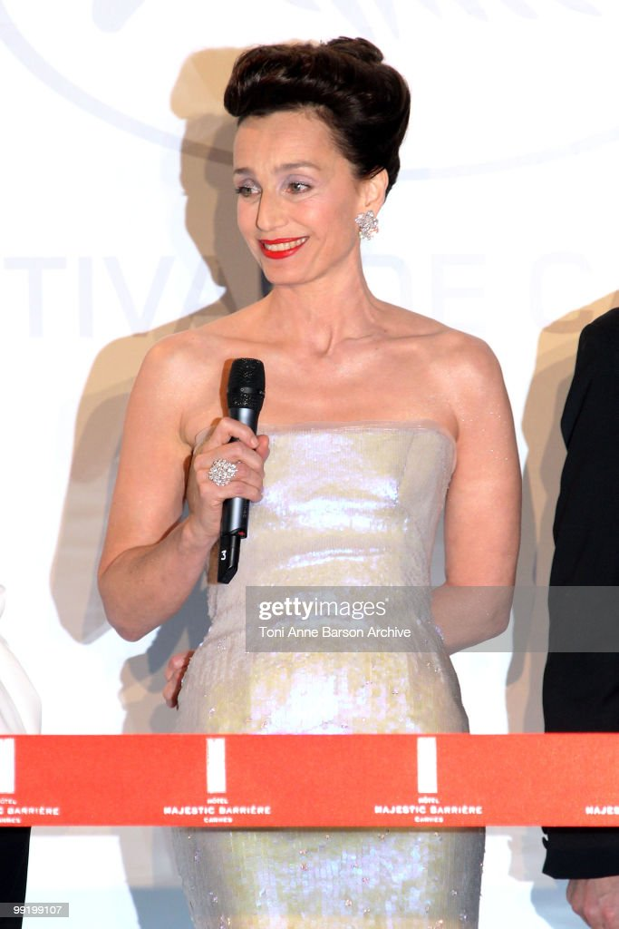 Mistress of Ceremony Kristin Scott Thomas speaks at the Opening Night Dinner at the Hotel Majestic during the 63rd Annual International Cannes Film Festival on May 12, 2010 in Cannes, France.