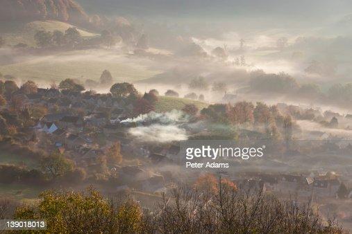 Misty Autumn Morning, Uley, Gloucestershire, UK : Stock Photo