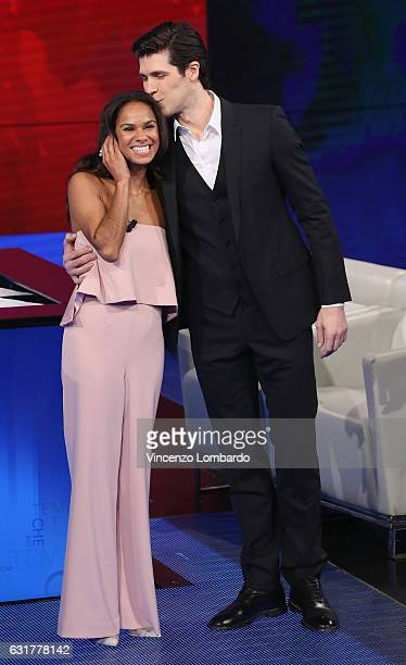 Misty Copeland and Roberto Bolle attend 'Che Tempo Che Fa' tv show on January 15 2017 in Milan Italy