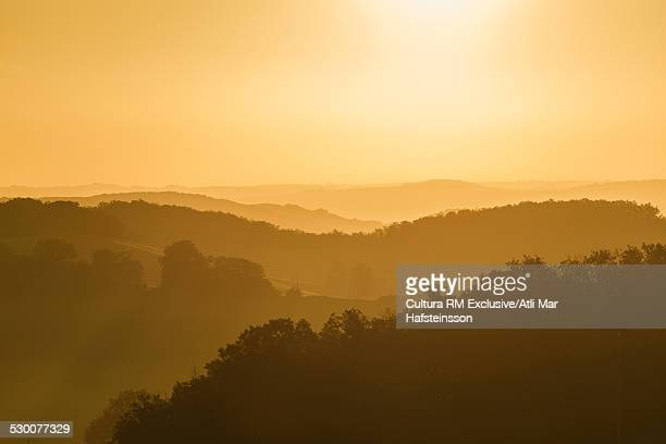 Misty landscape at sunrise, Prades, Midi Pyrenees, France