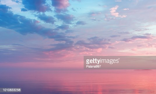 Misty Lilac Seascape With Pink Clouds : Stock Photo