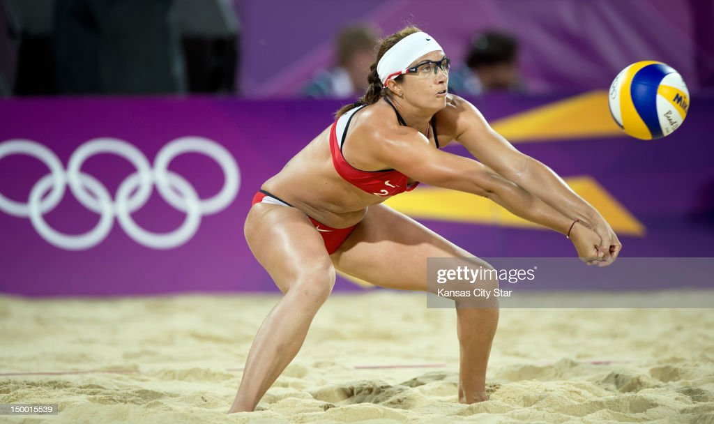 Misty MayTreanor of the United States returned a serve in the gold medal match of women's beach volleyball at Horse Guard Parade during the 2012...