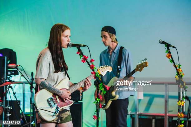 Misty Miller and Tom Shelton of Bad Parents perform on the Rising stage during day 4 at Green Man Festival at Brecon Beacons on August 20 2017 in...
