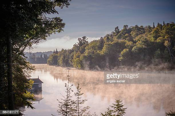 Misty morning mountain lake