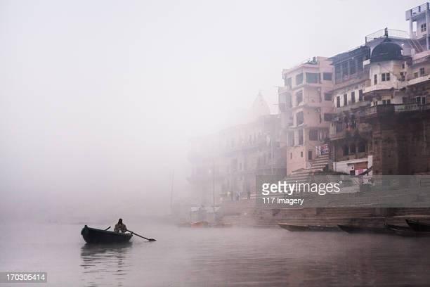 Misty morning on Ganges river, Varanasi, India