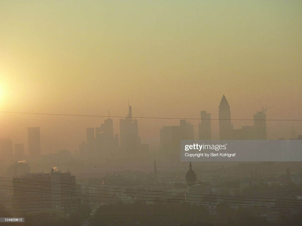 Misty sunrise in Frankfurt : Stock Photo