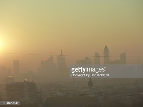 Misty sunrise in Frankfurt : Stock Photo