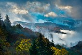 Misty sunrise in Great smoky Mountains National Park