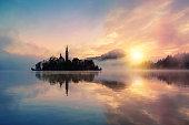 Misty sunrise to lake Bled in  Slovenia