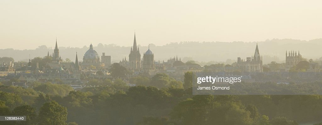 A misty view of Oxford City Skyline, Oxfordshire.