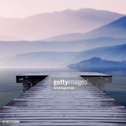 misty winter morning : Stock Photo