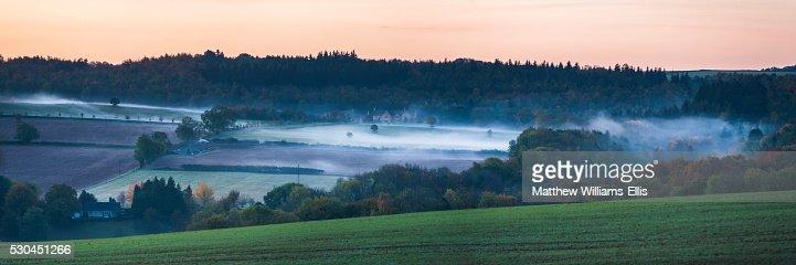 Misty winter sunrise, Blockley, The Cotswolds, Gloucestershire, England, United Kingdom, Europe