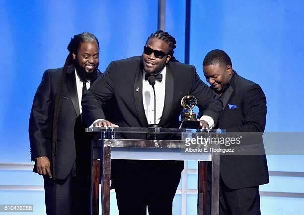 Misuicians Peter 'Peetah' Morgan Roy 'Gramps' Morgan and Nakamyah 'Lukes' Morgan of Morgan Heritage accept award for Best Reggae Album onstage during...