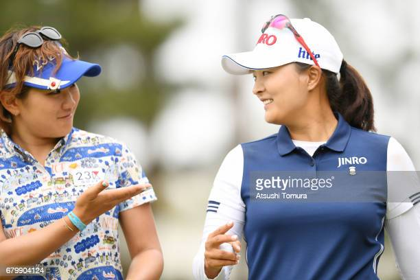 Misuzu Narita of Japan and Jin Young Ko of South Korea smile during the final round of the World Ladies Championship Salonpas Cup at the Ibaraki Golf...