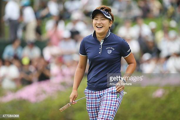 Misuzu Narita of Japan celebrates after winning the Suntory Ladies Open at the Rokko Kokusai Golf Club on June 14 2015 in Kobe Japan