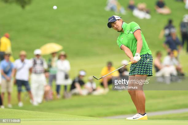 Misuzu Narita of Japan chips onto the 10th green during the final round of the Century 21 Ladies Golf Tournament 2017 at the Seta Golf Course on July...