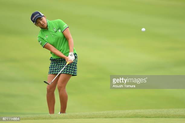 Misuzu Narita of Japan chips onto the 14th green during the final round of the Century 21 Ladies Golf Tournament 2017 at the Seta Golf Course on July...